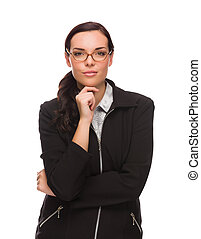 Serious Mixed Race Businesswoman Isolated on a White Background