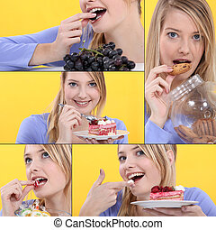 serious of snapshots showing sweet tooth girl
