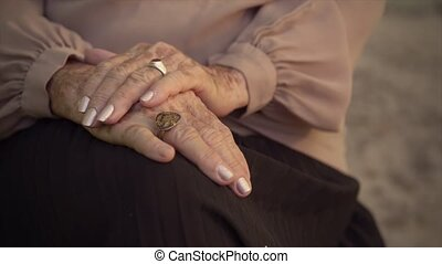 Serious old caucasian woman - Elderly women and feelings,...