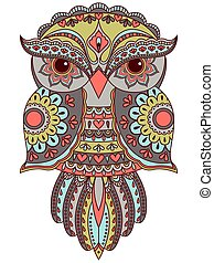 Serious owl with various pattern