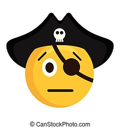 Serious pirate emoji with a hat. Vector illustration design