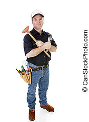 Serious Plumber Isolated