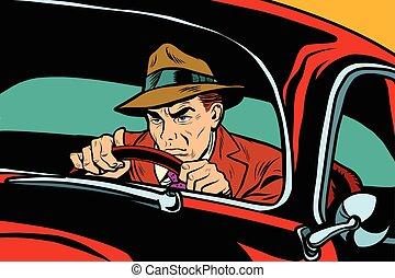 Serious retro man driving a car, pop art vector illustration