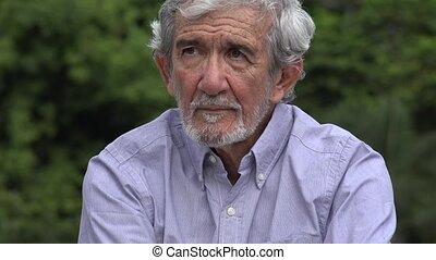 Serious Senior Elderly Hispanic Man