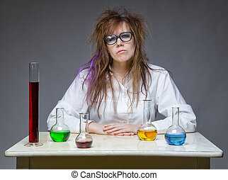 Serious shaggy scientist woman