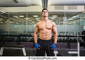 Serious shirtless muscular man in gym