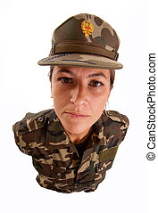 Serious staring female soldier