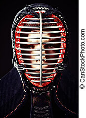 serious - Close-up portrait of kendo fighter. Asian martial...