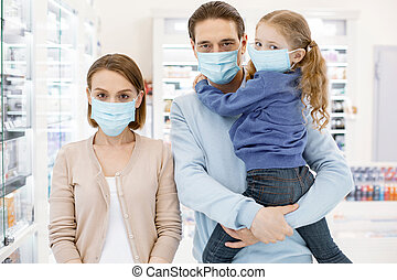 Serious unhappy family suffering from influenza