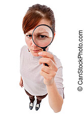 Serious woman as detective with magnifier - Serious young ...