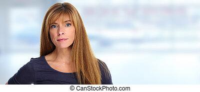 Serious woman portrait.