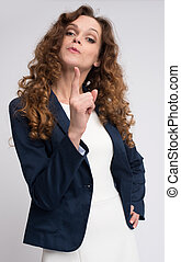 serious woman threatening with finger