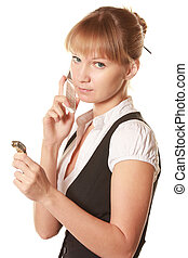 Serious woman with phone and watch