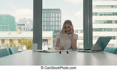 Serious woman working in light office room. Elegant modern businesswoman with laptop and papers at long table in conference light room having phone call.