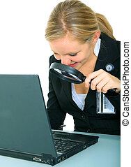 Serious Young Female Looking At Laptop