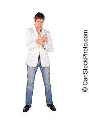 Serious young man posing