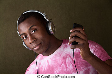 Serious Young Man with Headphones
