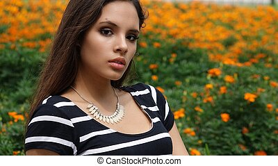 Serious Young Woman At Park