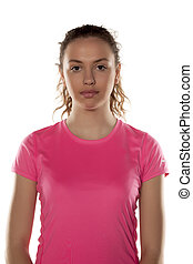 young woman in pink shirt