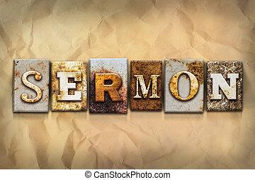 sermón, concepto, aherrumbrado, metal, tipo
