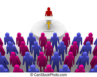 Sermon in church. Pastor, preacher. Concept 3D illustration.