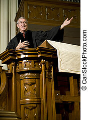 Sermon - Preacher giving a sermon from the pulpit