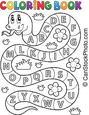 serpent, alphabet, thème, livre coloration