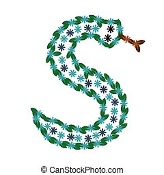 Decorative letter S in the shape of the serpent