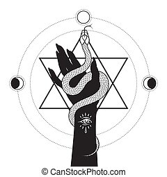 Serpent in female hand over the six pointed star line art and dot work. Boho chic tattoo, poster, tapestry or altar veil print design vector illustration