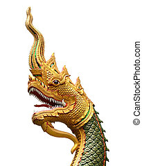 serpent king or king of naga statue in thai temple isolated on white