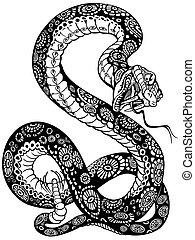 serpent noir, blanc