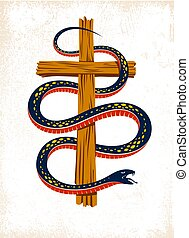 Serpent on a Cross vintage tattoo, snake wraps around Christian cross, God and Devil allegory, the struggle between good and evil, symbolic vector illustration logo or emblem.