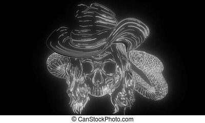 serpent, tordu, numérique, os, néon, vidéo, crâne