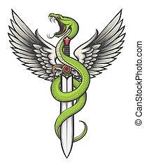 serpente, spada, ali