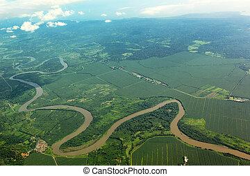 serpenter, rivière, air