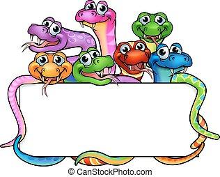 serpenti, cartone animato, segno
