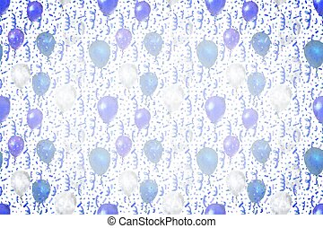 Serpentine and confetti with blue and white balloons on white wide background