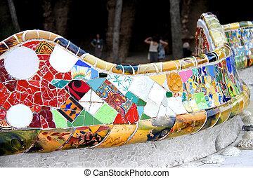 serpentine, banc, dans parc, guell, dans, barcelone