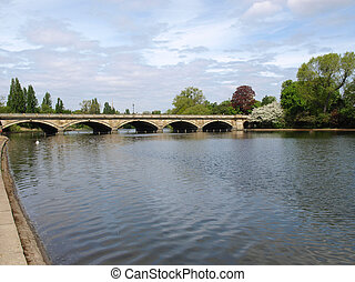 Serpentine lake river in Hyde Park, London, UK