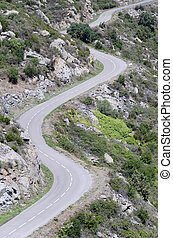 serpentine mountain road, aerial view
