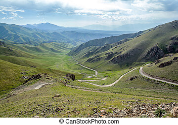Serpentine mountain road in Kyrgyzstan