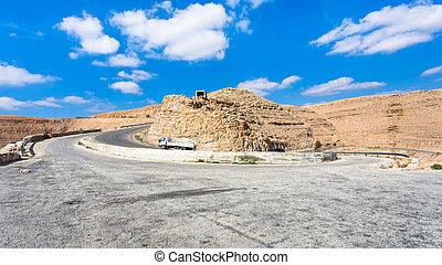 serpentine mountain road King's highway in Jordan