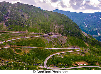 serpentine of Transfagarasan road in mountains