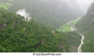 Serpentine road in mountains near Stalheim, overview