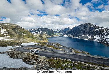 Serpentine road in scenic Norway mountain landscape