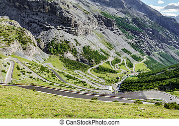 Serpentine road in Stelvio Pass, Bormio slope - Top view of ...