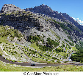 Serpentine road in Stelvio Pass from Bormio - Top view of ...