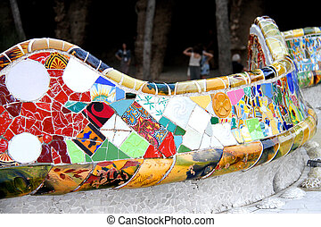 serpentino, panca, parco, guell, in, barcellona
