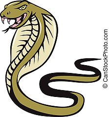 serpiente, cobra, atacar, caricatura, víbora