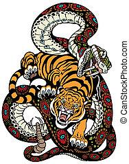 serpiente tigre, pelea